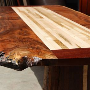 Hand Made Live Edge Cherry Slab Table W Pine Legs By