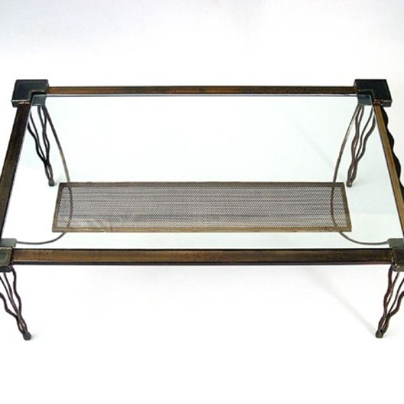 Hand Crafted Coffee Table Contemporary Steel Metal And Glass Rectangle Eclectic Sculptural