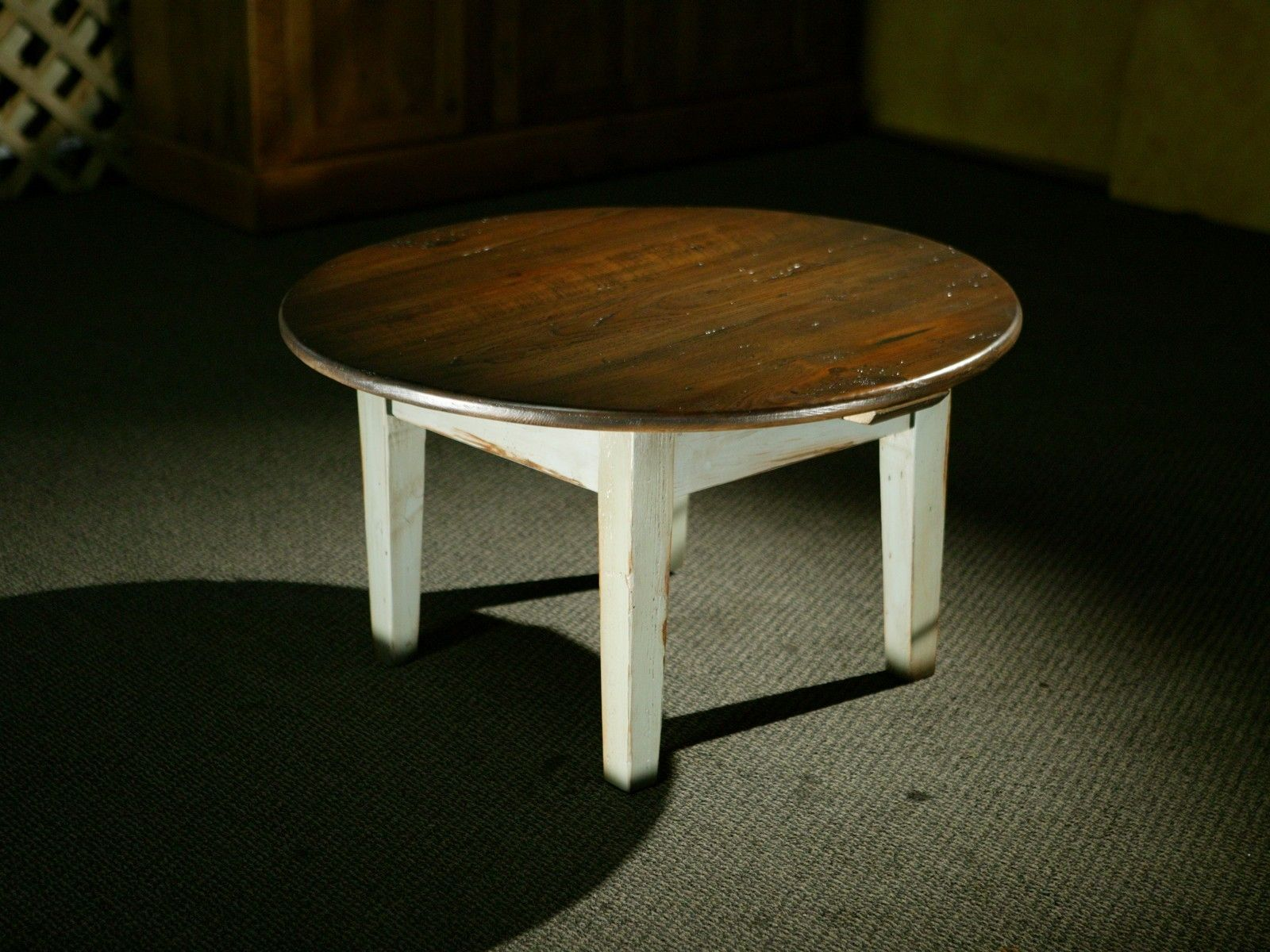 Hand Made Round Antique Walnut Coffee Table By Ecustomfinishes Reclaimed Wood Furniture