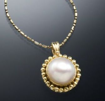 Custom Made Granulated Fresh Water Pearl Pendant In 22ky