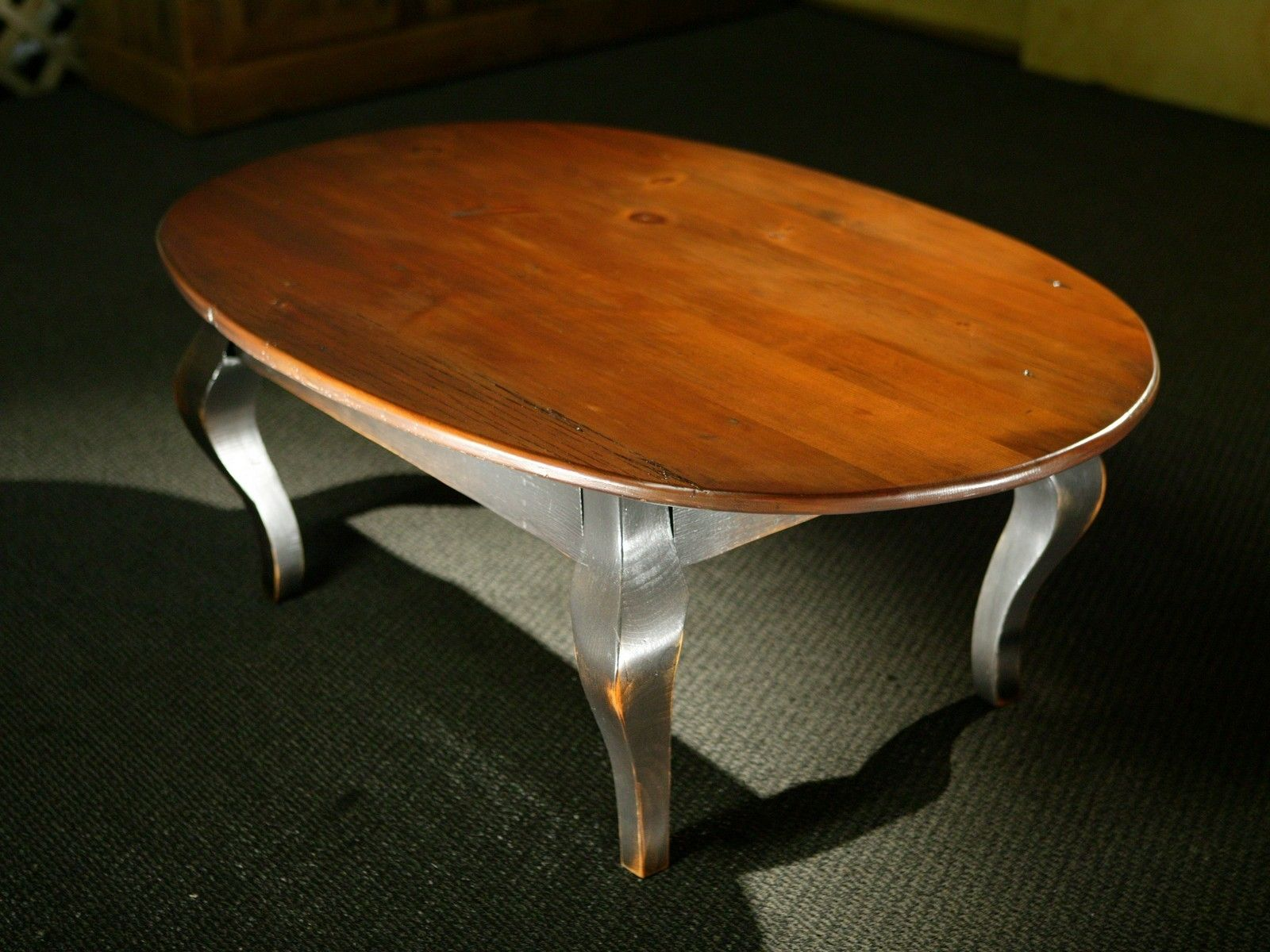 Hand crafted oval wood coffee table with black french legs by ecustomfinishes reclaimed wood Wood oval coffee table