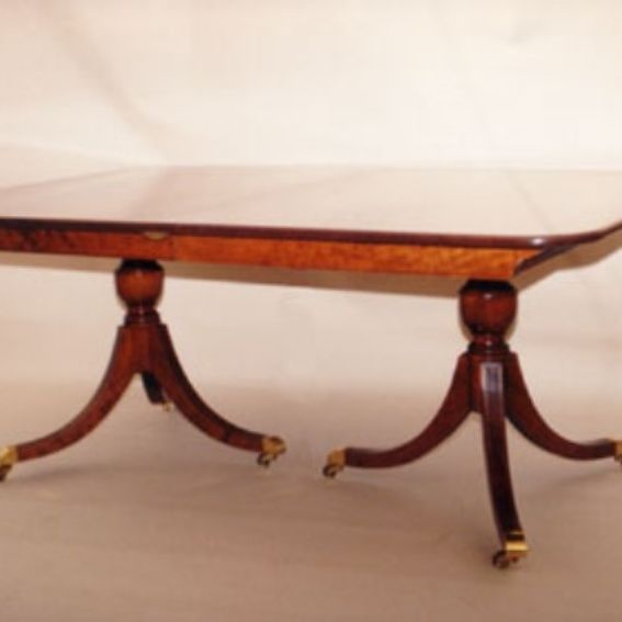Double Pedestal Dining Room Table: Hand Made Double Pedestal Dining Room Table By Walter