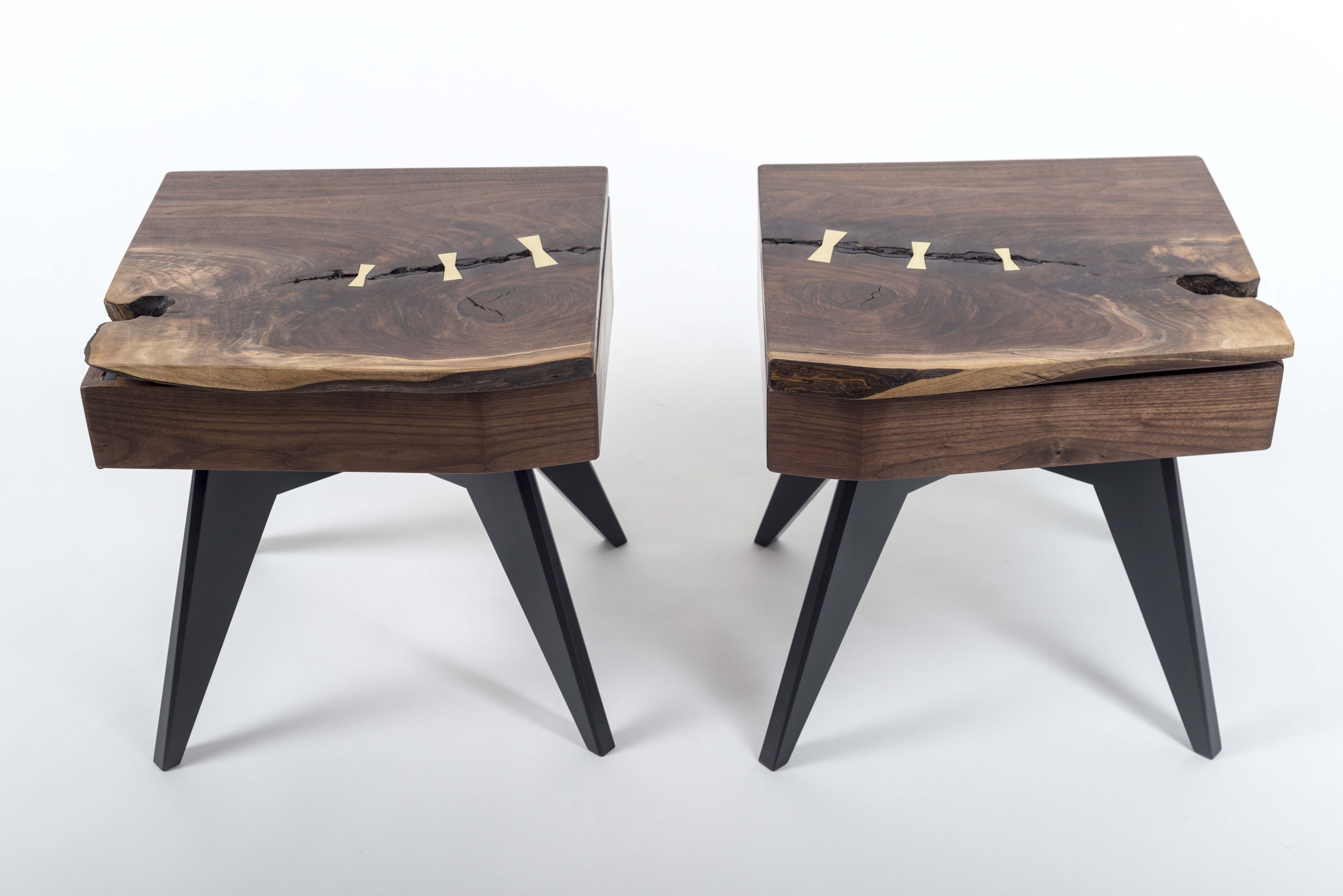 Hand Made Matching Walnut Slab Nightstands With Brass Lamp