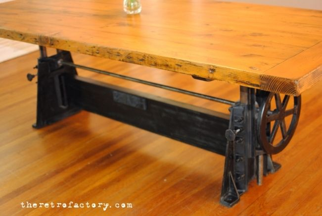 hand made vintage industrial adjustable 1940 s crank table