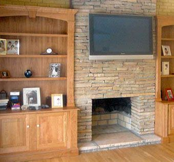 Custom Made Built-In Cabinets Around Fireplace