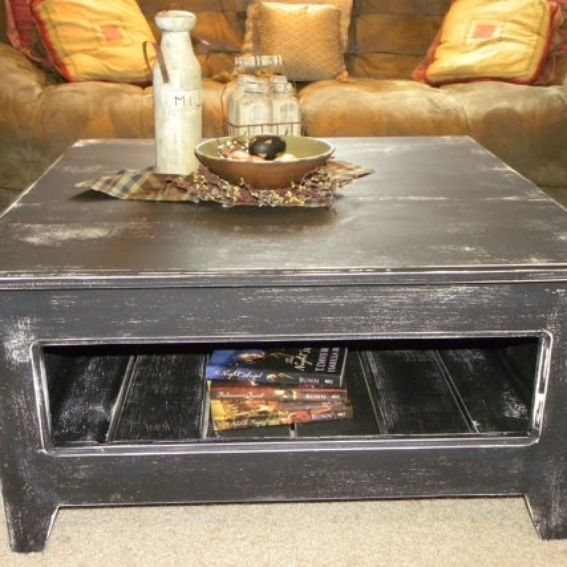 Hand Crafted Primitive Square Coffee Table By Rustic
