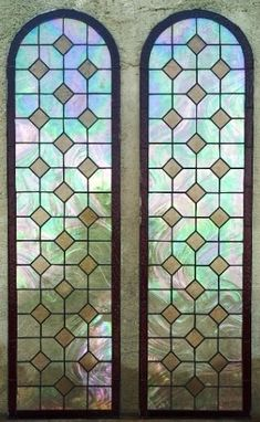 Custom Made Stained Glass Iridiscent Set: Fan Shaped Transom Window And Door Panels.