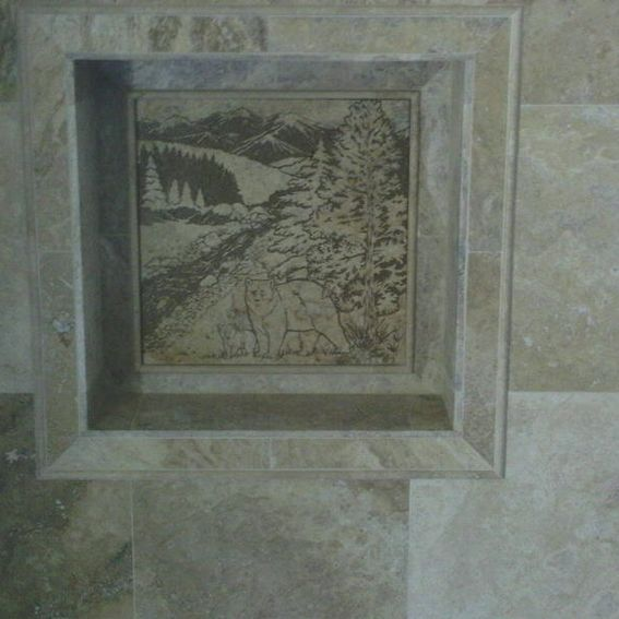 18x18 Tile In Small Bathroom: Hand Made Colorado Cabin Shower Niche By Tile Goddess