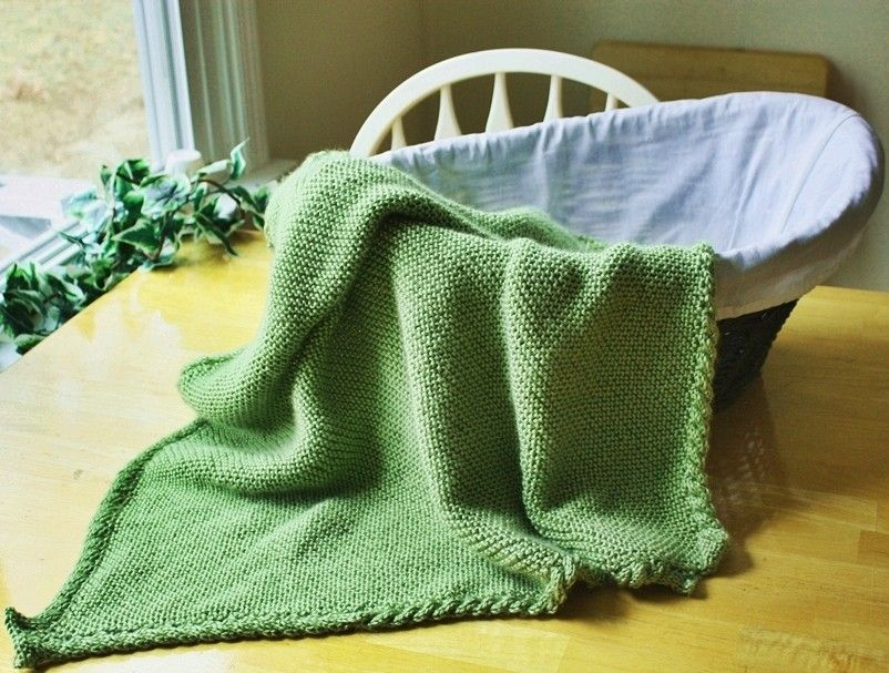 Knit Blanket Pattern Easy : Custom Made Knit Baby Blanket Pattern - Easy Warm Cable Border by Spinning Sh...