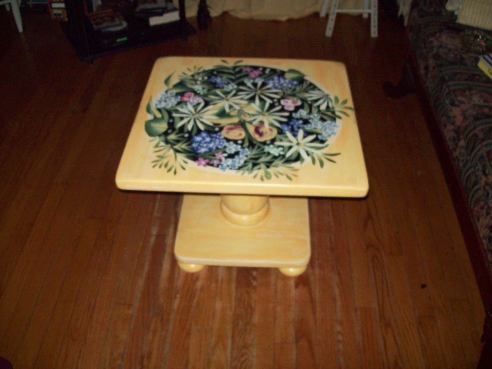 Hand Crafted Coffee Table Painted Yellow With Flowers
