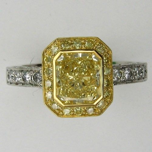 custom yellow 18k and platinum engagement ring by