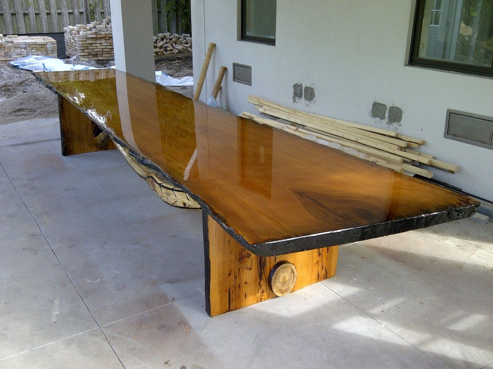 Hand Crafted Large Live Edge Table By Rustic Wonders