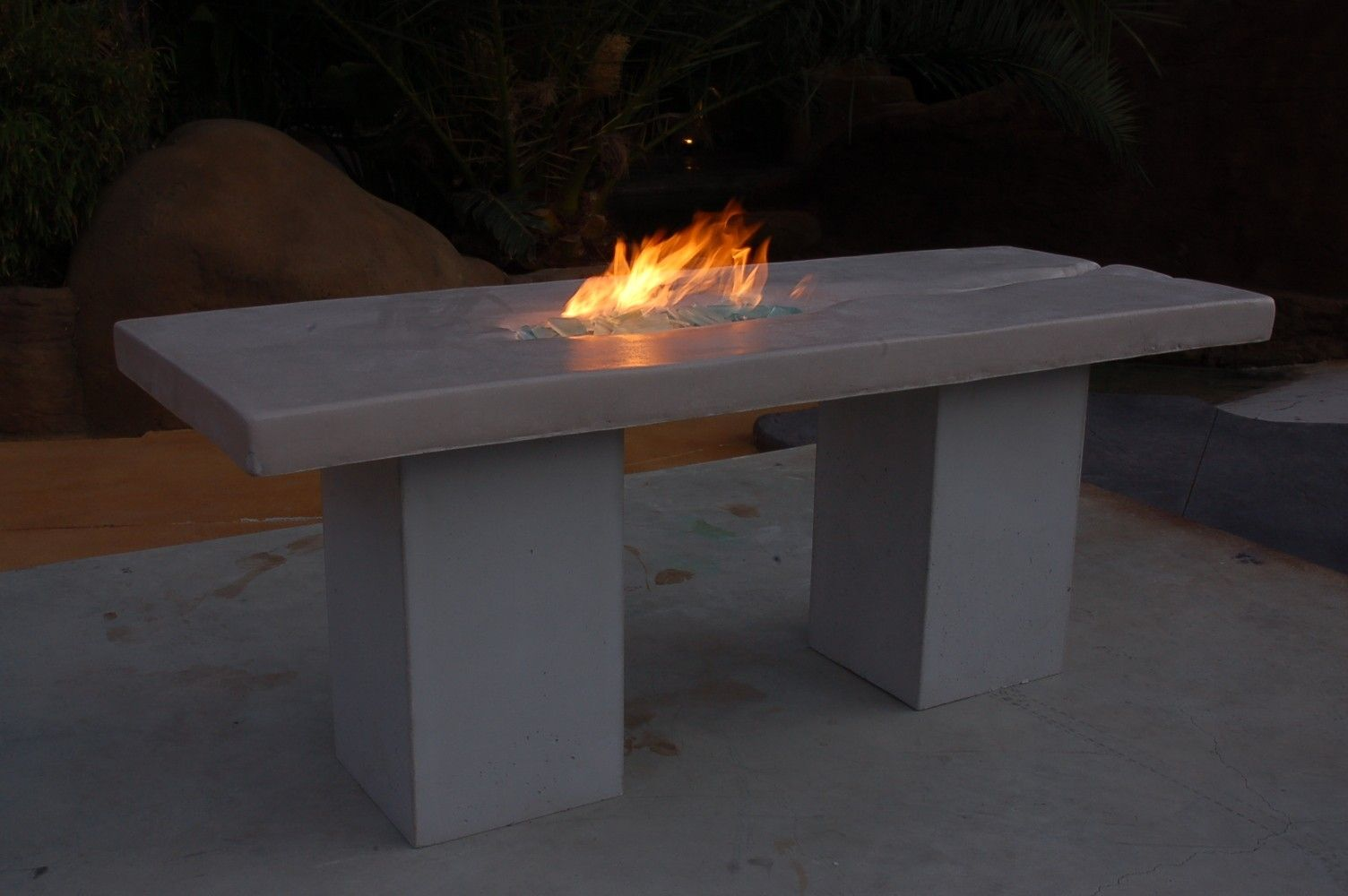 Hand Made Custom Cast Concrete Patio Fire Table By