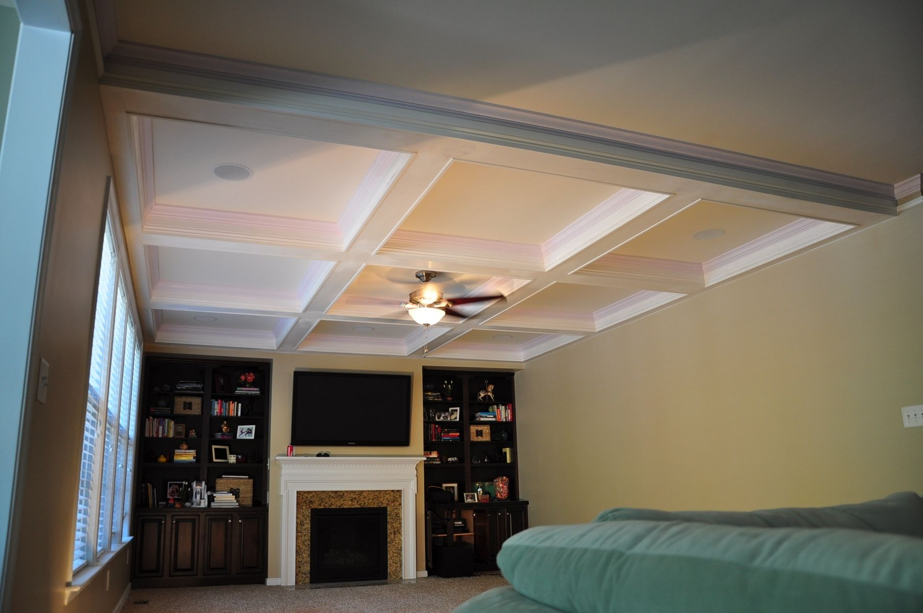 Coffered ceiling kits with fan