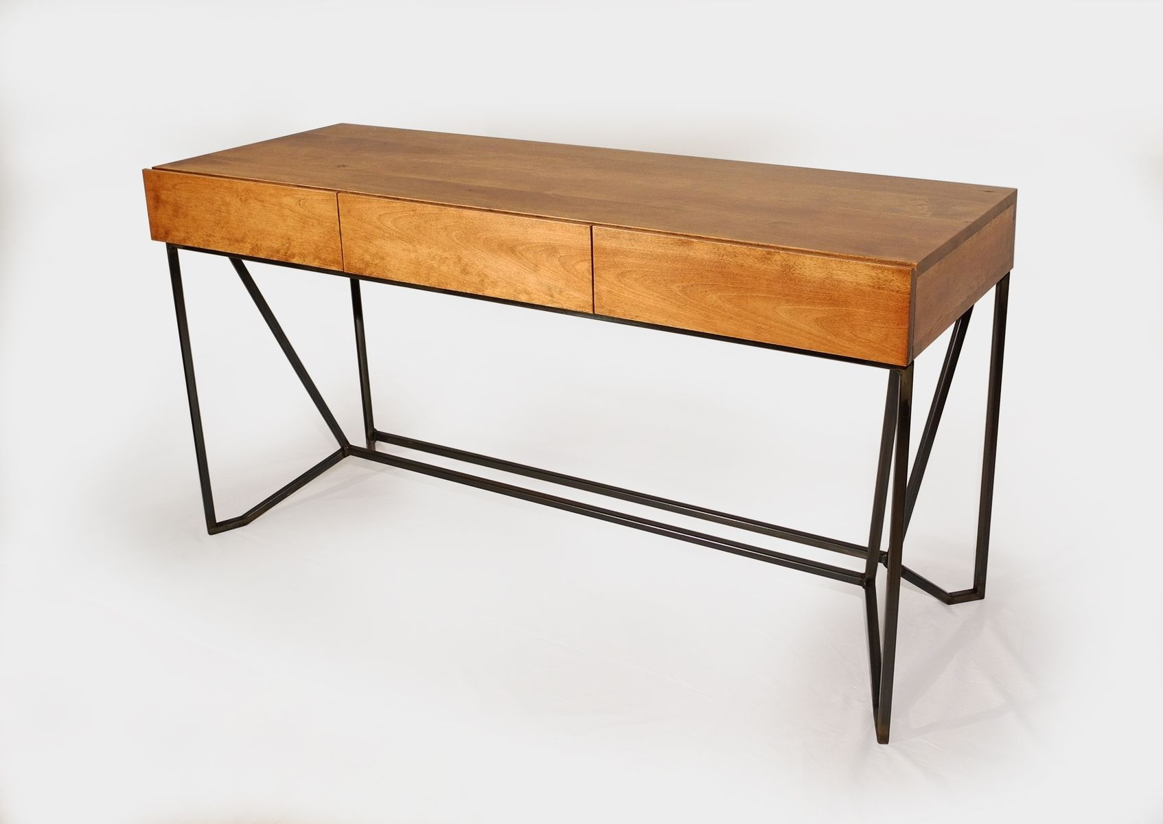 Hand Crafted Modern Industrial 3 Drawer Desk By