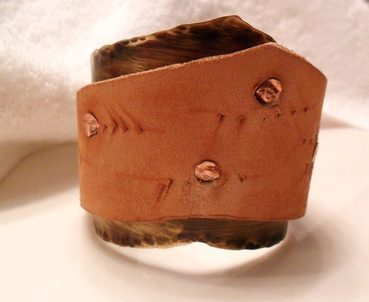 Hand crafted leather cuff bracelet with brass rivets by for Rivets for leather jewelry