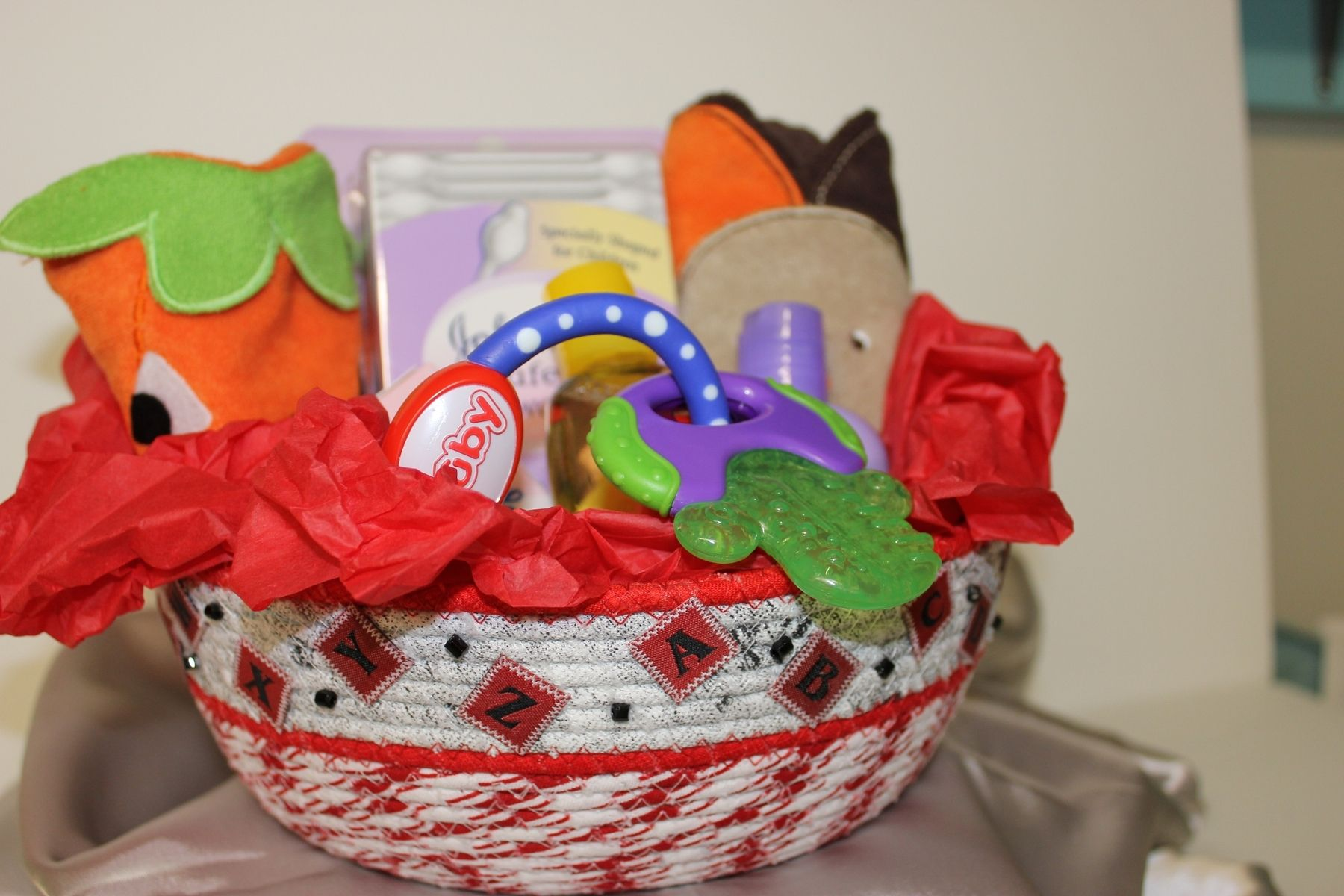 Handmade Fabric Wrapped Bowl Basket Baby Gift