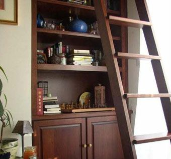 Custom Made Bookshelf With Ladder