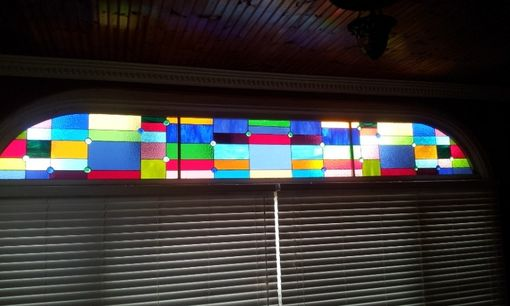 "Custom Made Stained Glass 3 Panel Set - ""Cubist Rainbow"""