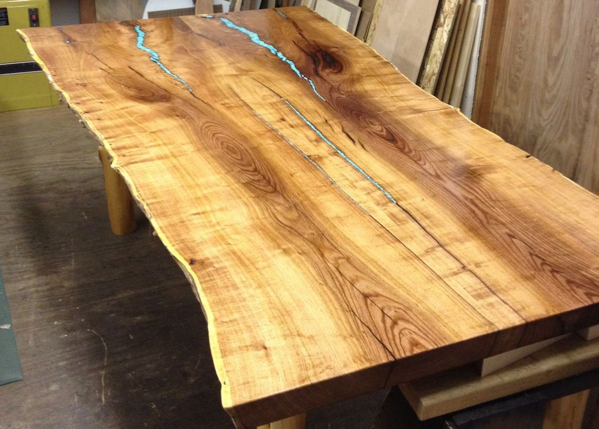 Turquoise Inlay Mesquite Dining Table
