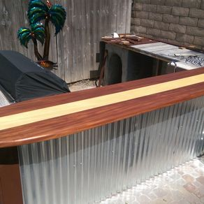 Hand made cedar gates through wedged mortise and tenon for Surfboard bar top