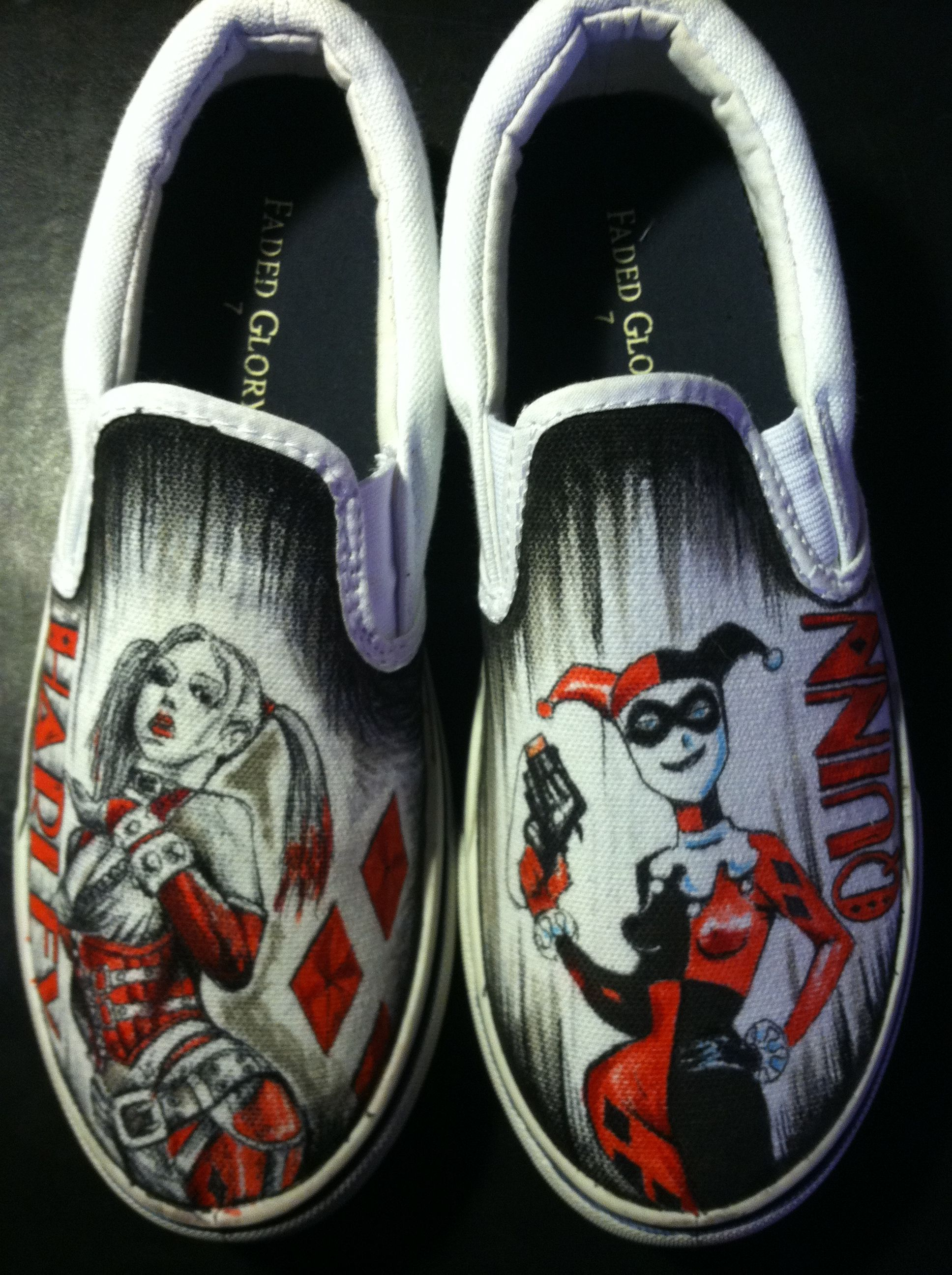 Buy Hand Crafted Hand Drawn Harley Quinn Custom Shoes