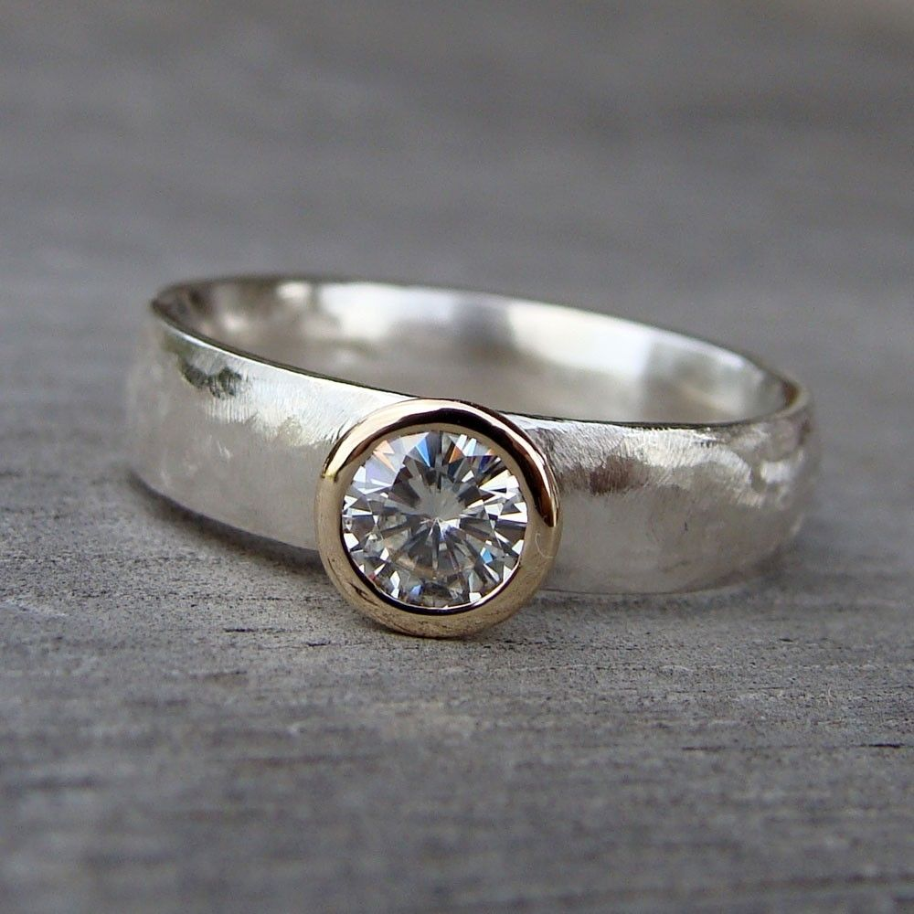crafted moissanite recycled 14k gold and recycled