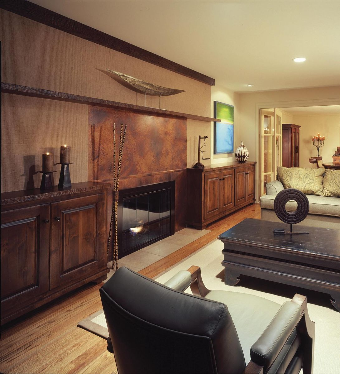 hand crafted built in cabinets living room by tilde