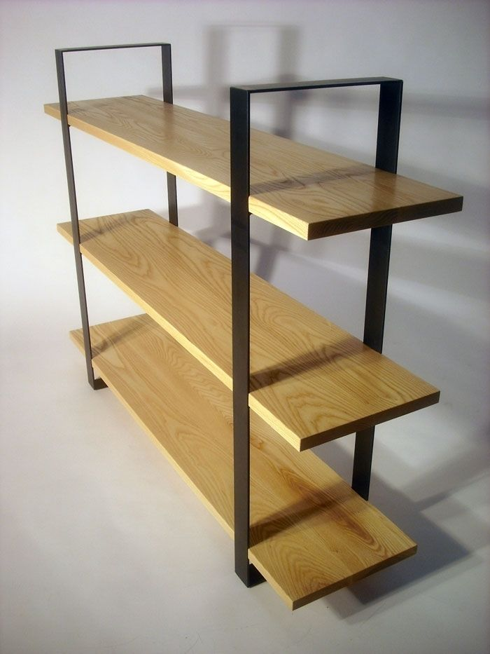 Hand Crafted Flat Bar Bookcase Ash Steel By Bdagitz Furniture