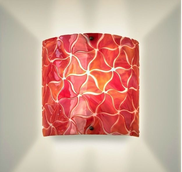 Red Glass Wall Sconces : Handmade Modern Glass Wall Sconce- Coral Red by grayc glass CustomMade.com
