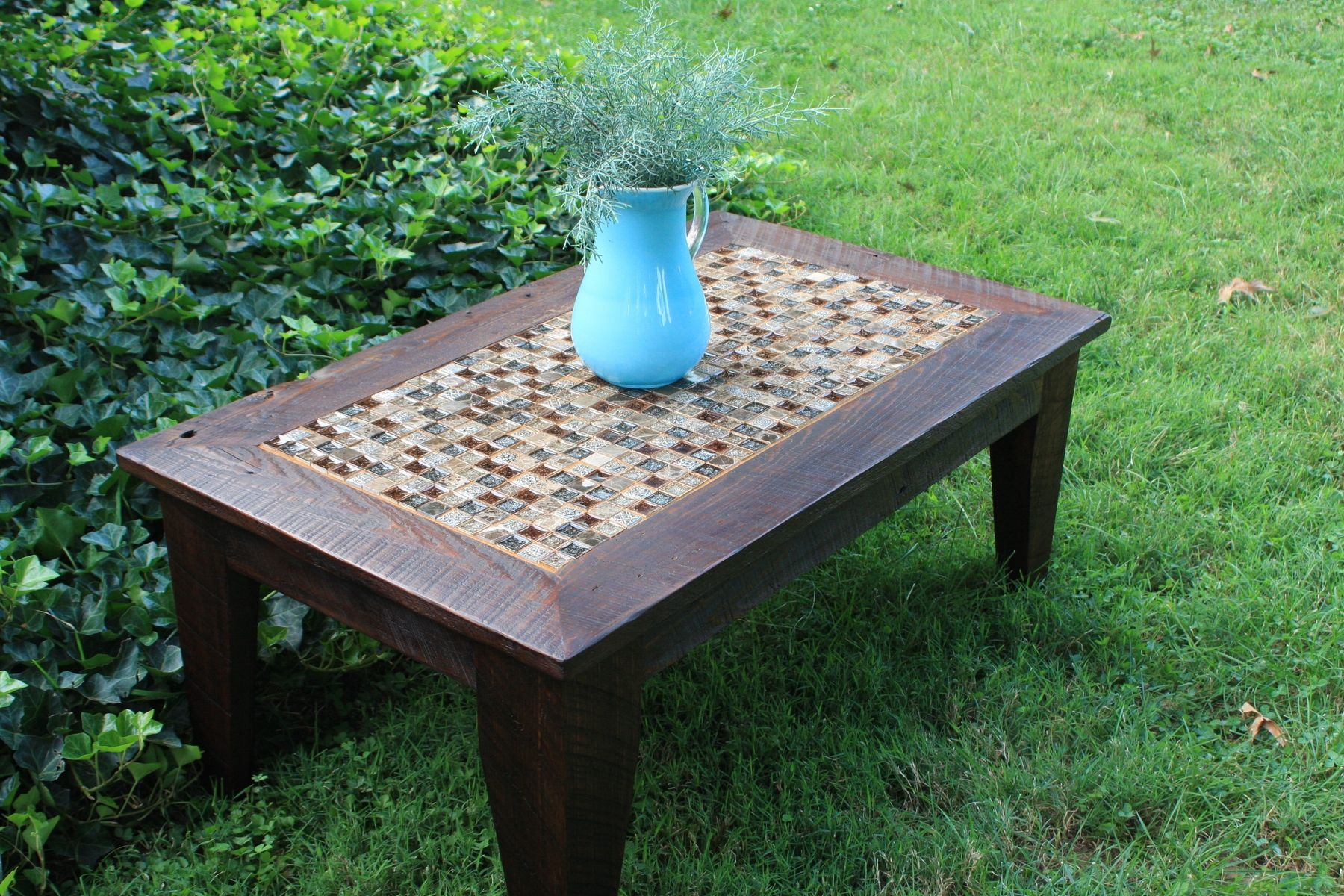 Hand Made Coffee Table Glass Stone Tile Mosaic
