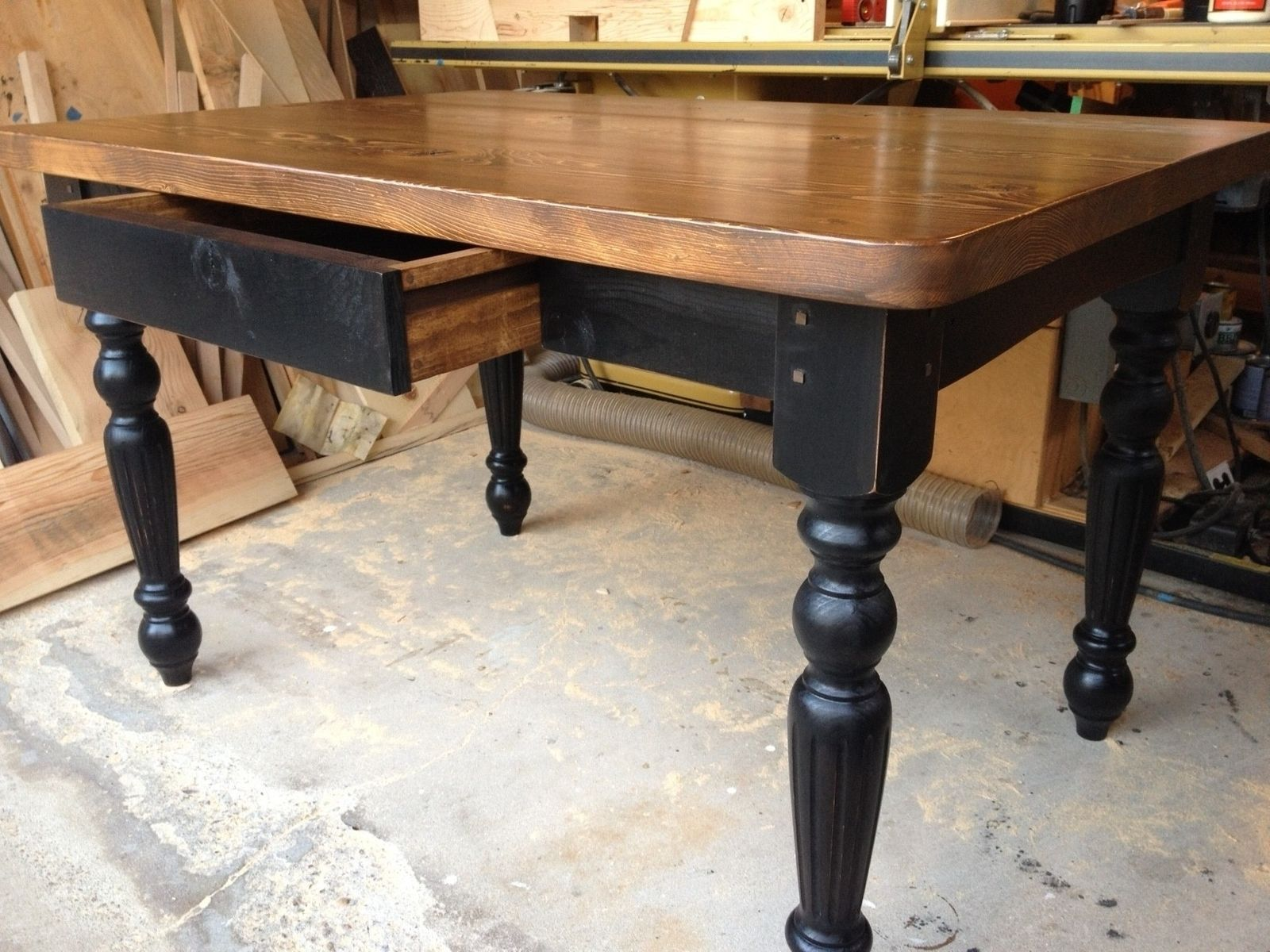 Hand made harradine kitchen table by farmhouse table for Wood top kitchen table