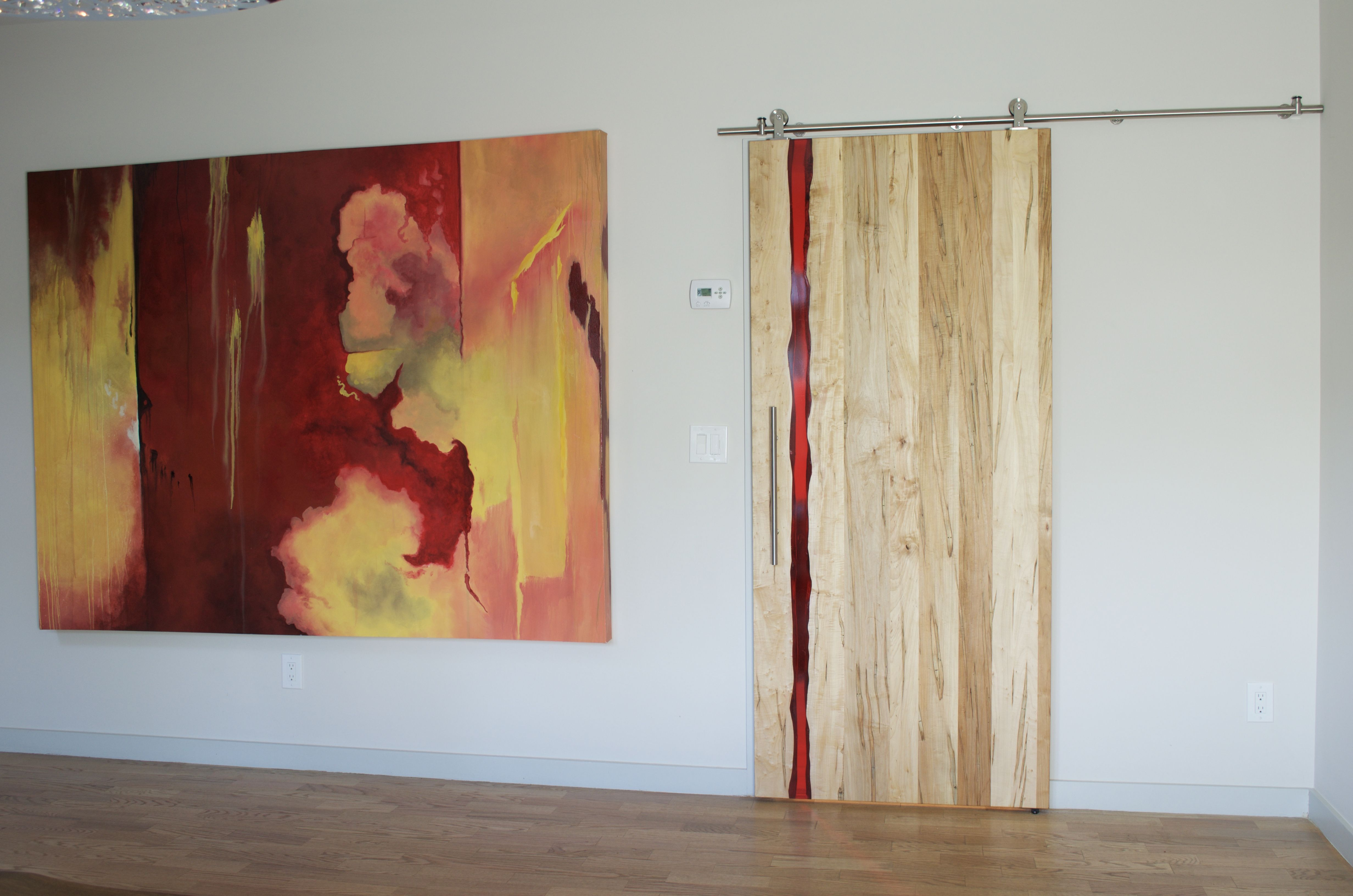 Custom Made Modern Barn Door With Red Resin Inlay By