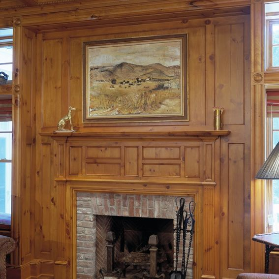 Vintage Knotty Pine Paneling: Custom Knotty Pine Paneling & Mantel Family Room By Culin