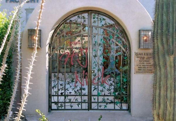 Hand Made Iron Gate With Hand Forged Vines And Leaves By
