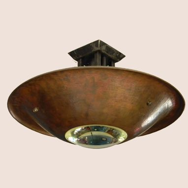 Custom Made Hammered Copper Ceiling Fixture