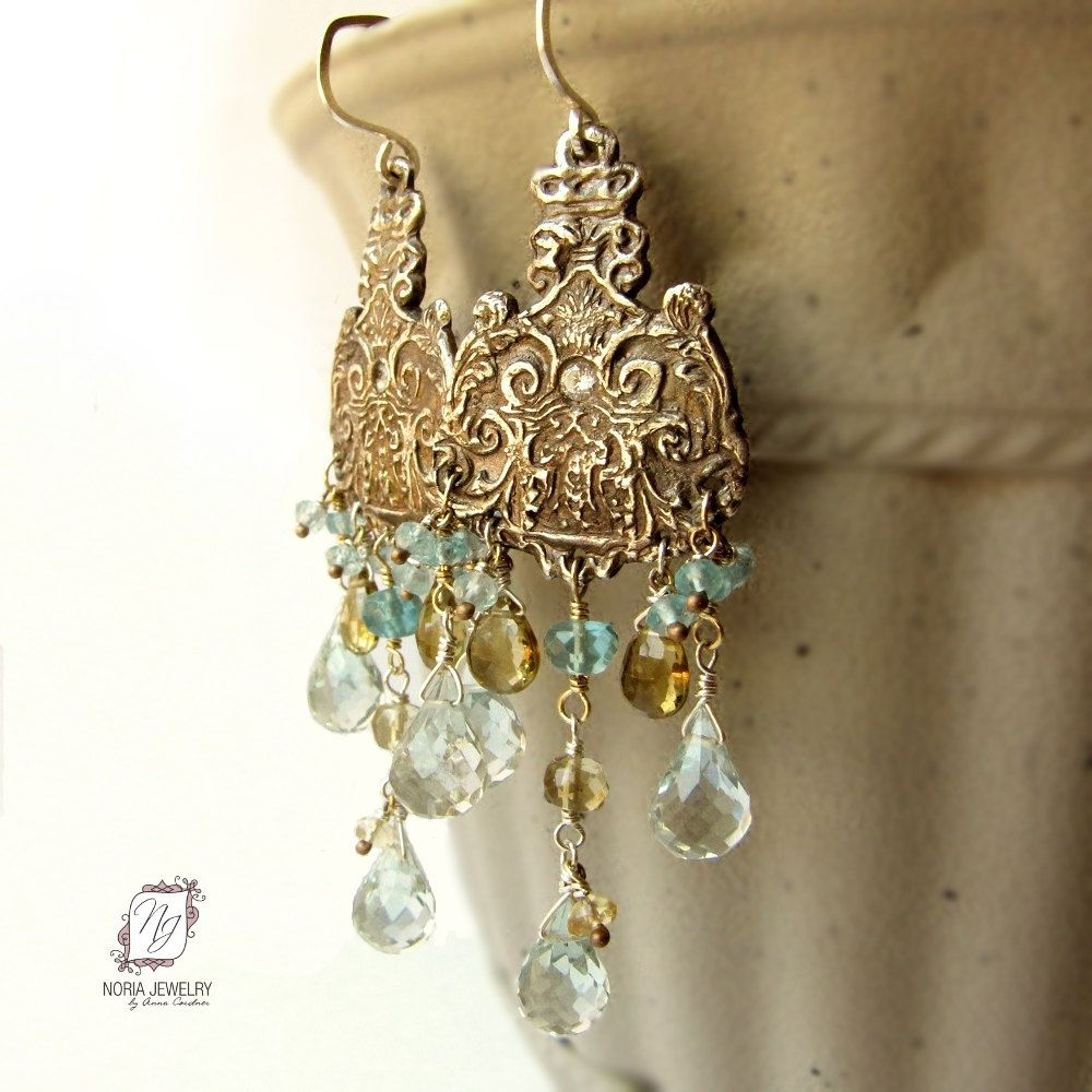 Buy a handmade fine 999 silver chandelier earrings blue for Fine silver 999 jewelry