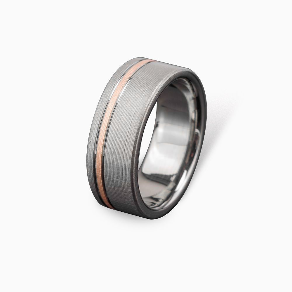Buy a hand made titanium rose gold wedding ring comfort for Custom made wedding bands to fit engagement ring