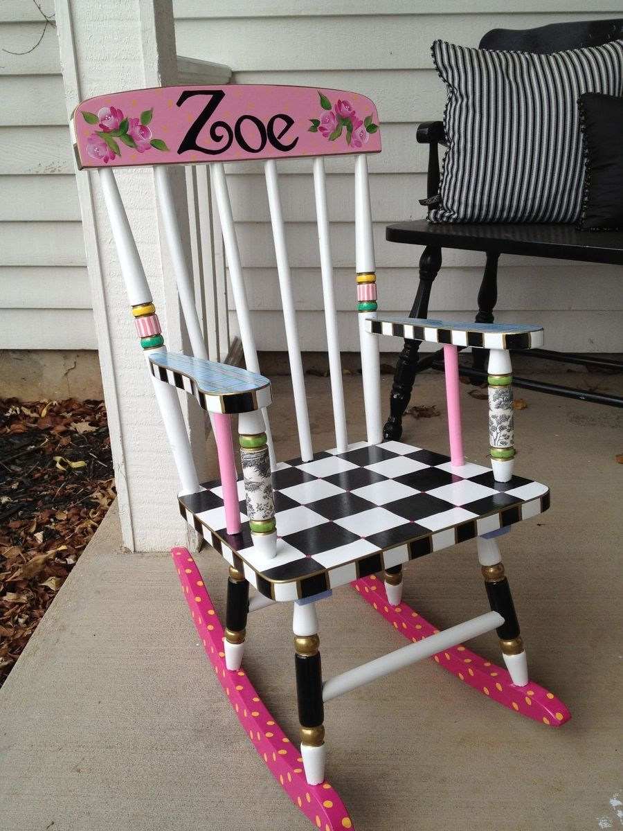 Hand Made Hand Painted Childs Rocking Chair By Michele