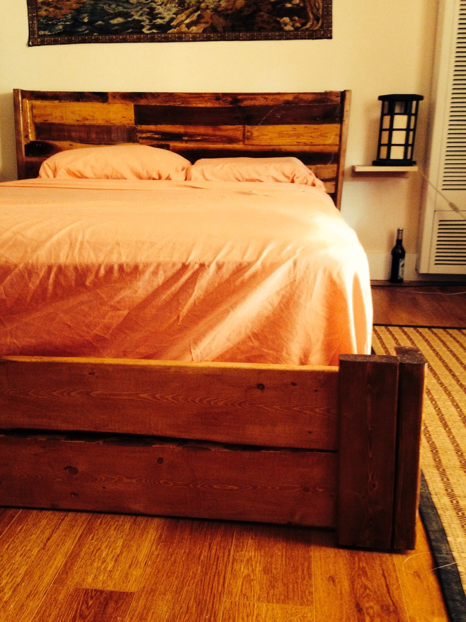 Hand Made Reclaimed Rustic Bed Frame With Floating