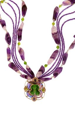 Custom Made Banded Purple Amethyst Multi-Strand Necklace With Frog