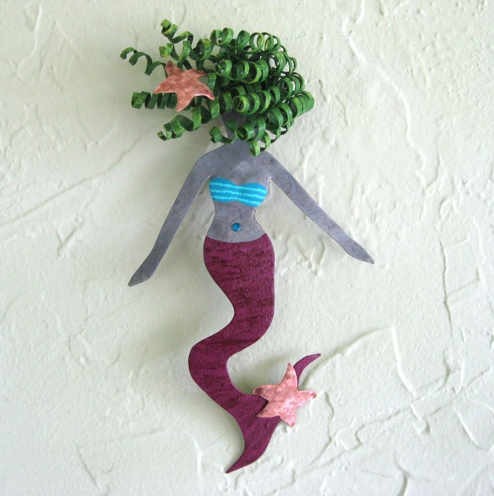 Hand Crafted Handmade Upcycled Metal Mermaid Wall Art