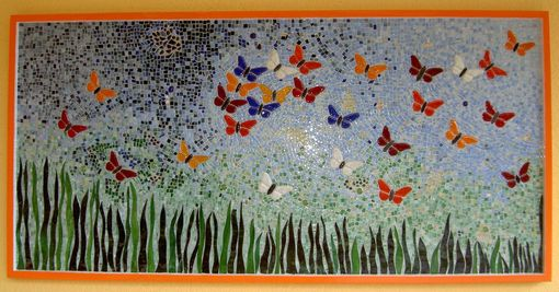 Wall Art Glass Butterflies : Hand crafted wall decor butterfly mosaic i by aval glass