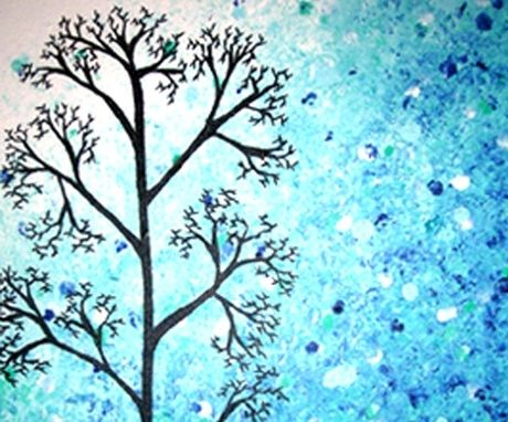 Buy a Hand Made Light Blue Trees, Original Modern Large ...