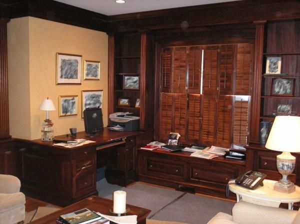 Custom Made Mahogany Executive Office And Library By J D