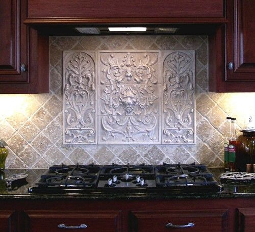 Handmade lion panel and bouquet tiles decorative backsplash tiles by anderson ceramics - Custom kitchen backsplash tiles ...