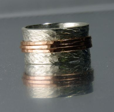 Custom Made Sterling Silver And 14k Solid Rose Gold Wedding Band