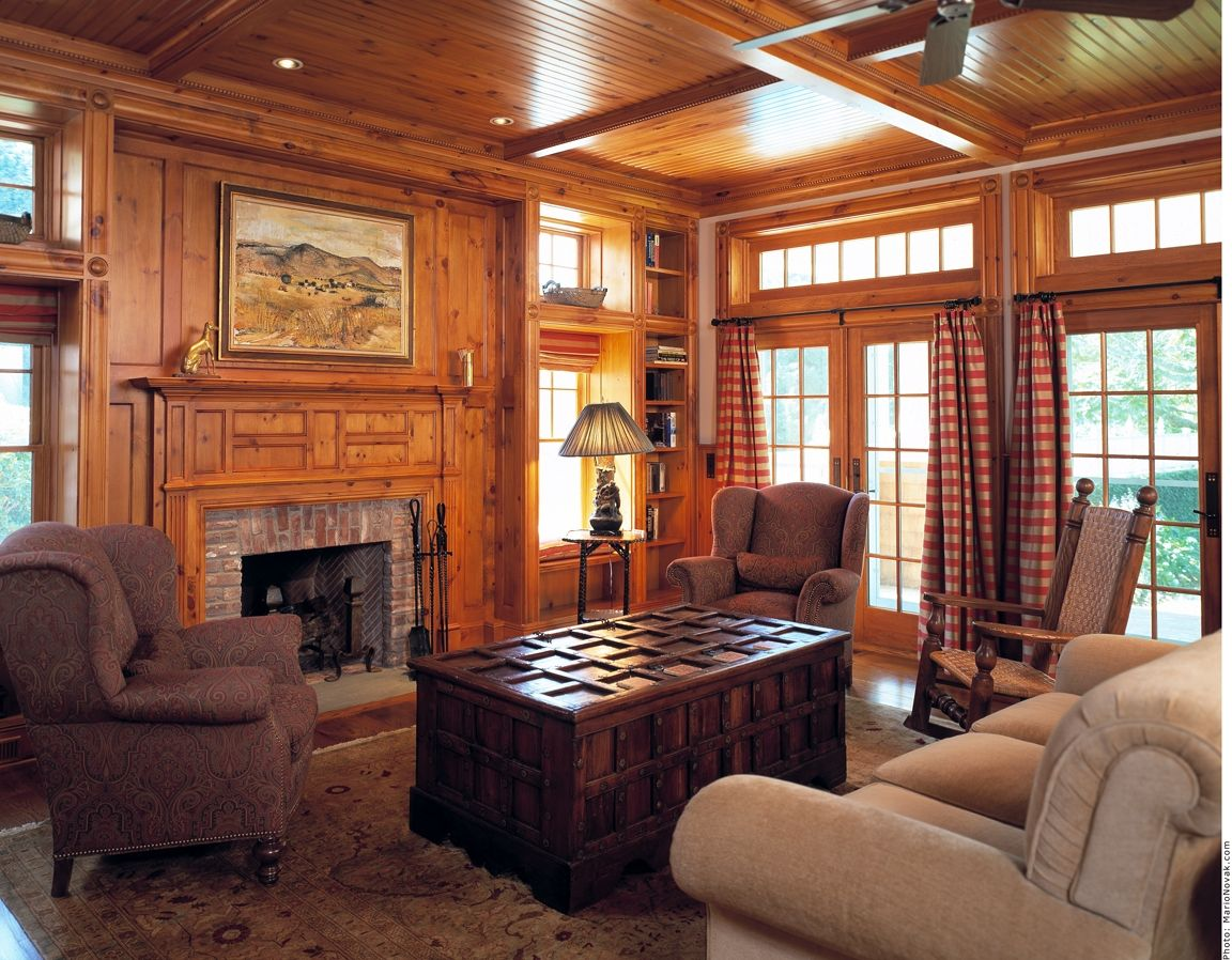 Custom knotty pine paneling mantel family room by culin colella