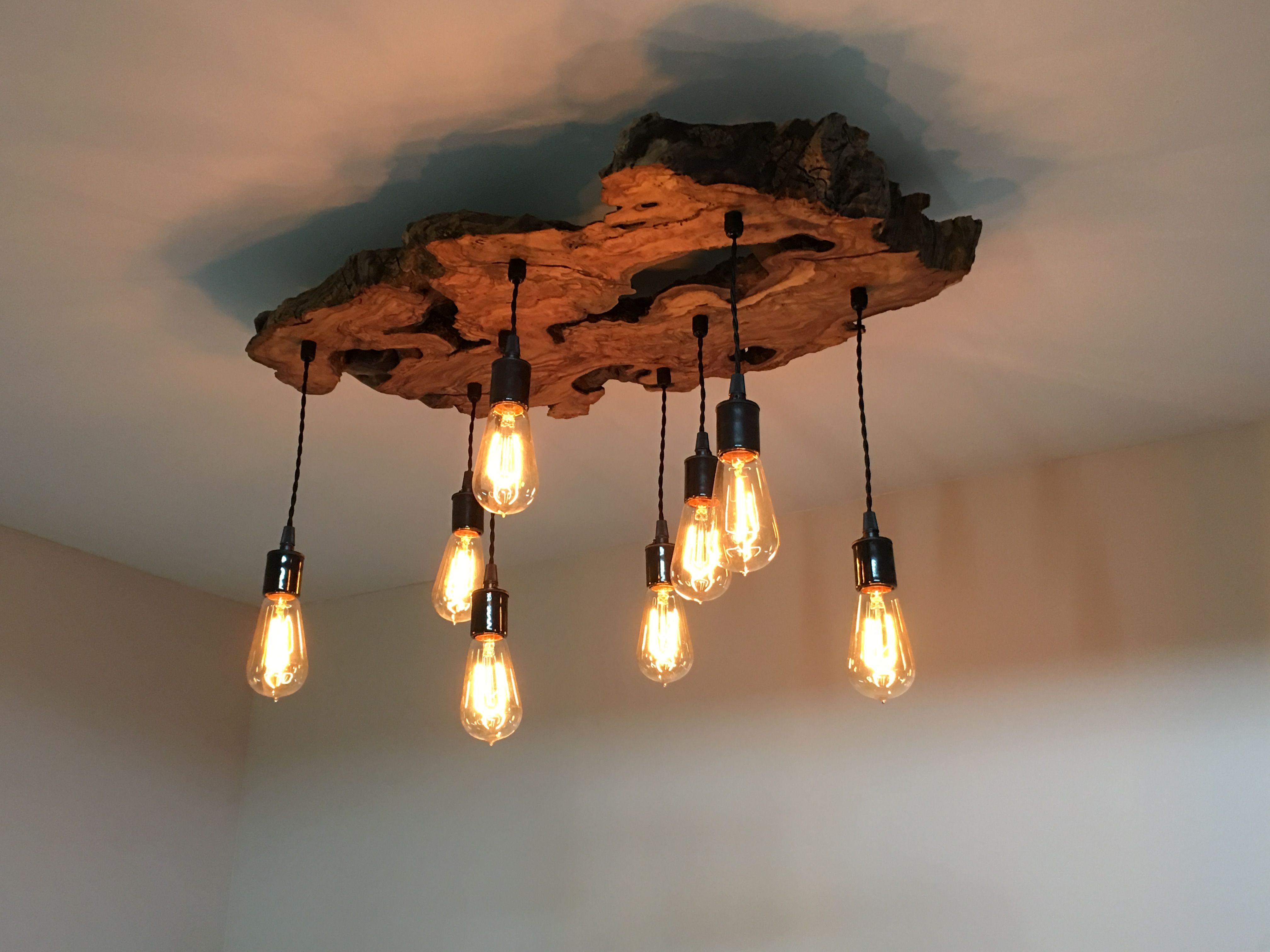 Handmade live edge olive wood chandelier rustic and industrial light fixture by 7m woodworking - Light fixture chandelier ...