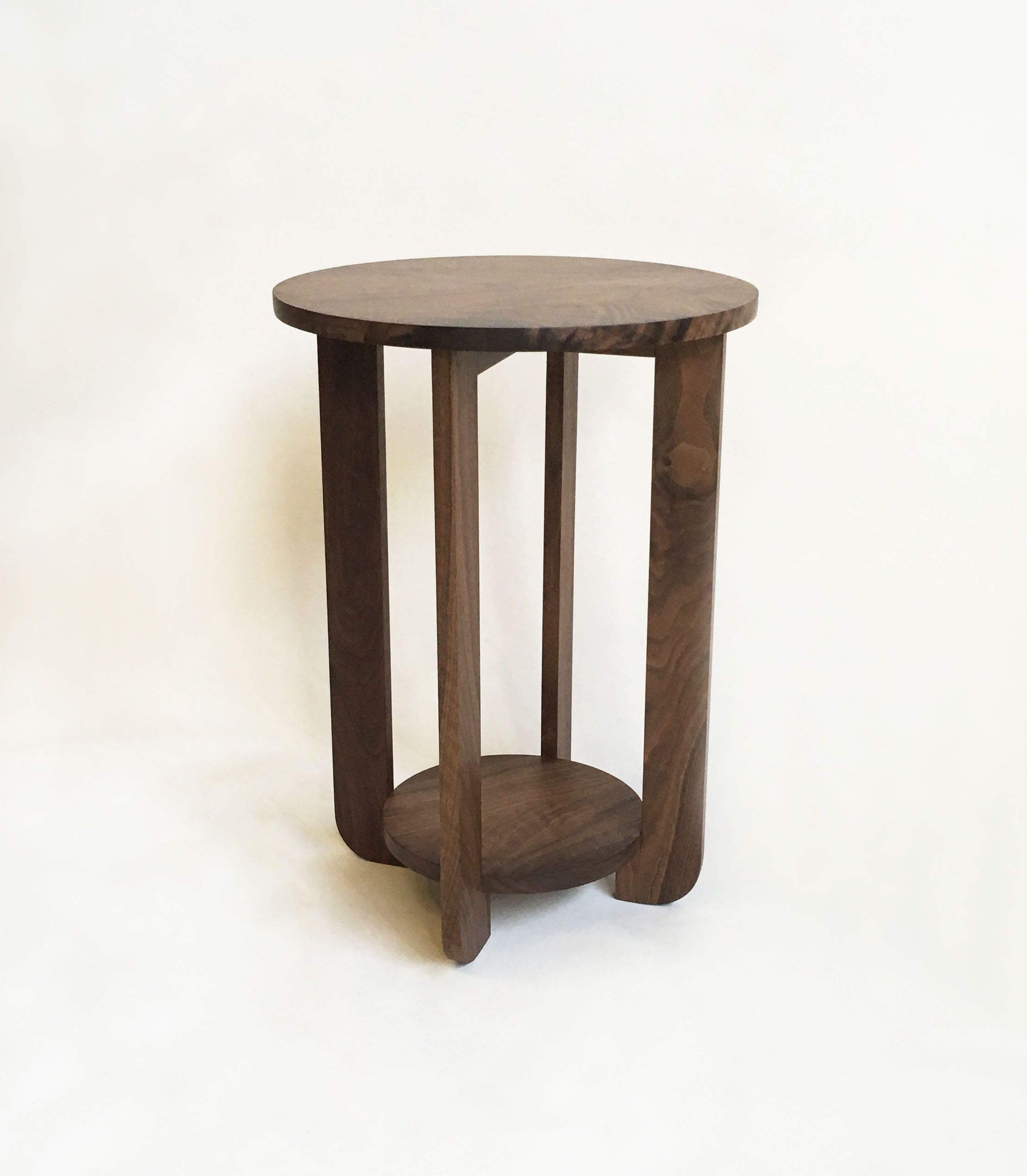 """Buy A Hand Crafted Perriand Style 18"""" Round Solid Walnut"""